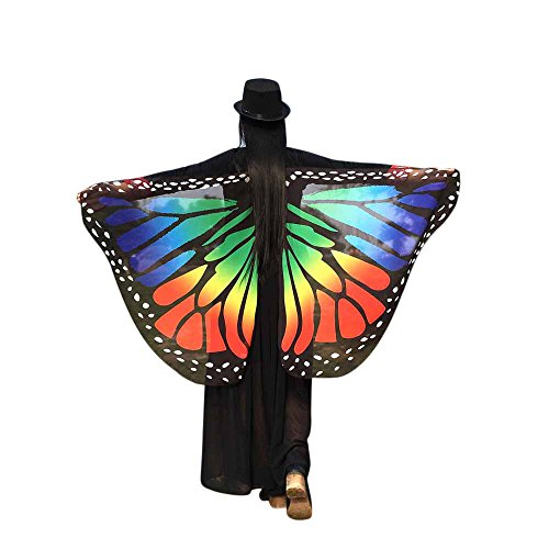 Lazzboy Kostüm Weiche Stoff Schmetterlingsflügel Schal Fee Damen Nymphe Pixie(M,Mehrfarbig)