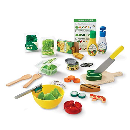 Melissa & Doug Slice and Toss Salad Play Food Set – 52 Wooden and Felt Pieces