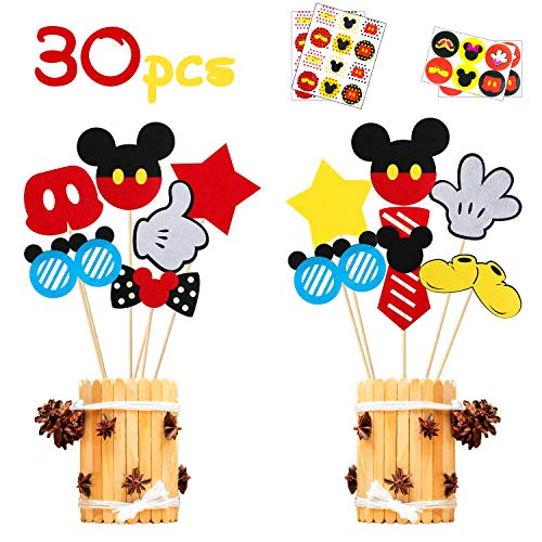 MALLMALL6 30Pcs Mickey Centerpiece Sticks Birthday Party Table Topper Decorations Baby Shower Mickey Party Supplies Room Decor Party Favors Costumes Pretend Play Photo Booth Props for Kids