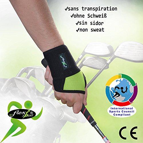 Handgelenkbandage für Golfer, schweißfrei, sitzt perfekt vom Daumen bis Handgelenk, stärkt Handgelenk und Griff, verbessert die Genauigkeit. Ungiftig, geruchlos, ohne Neopren/Latex. Einheitsgröße (Länge 36 cm), L/R Passform, Unisex. Einheitsgröße lime