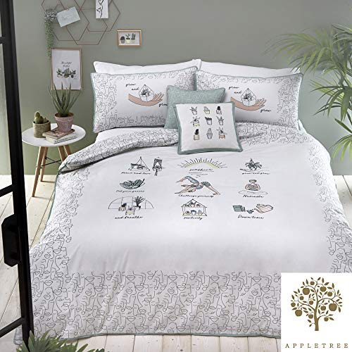 Appletree Wellbeing 180 Thread Count 100% Cotton Percale Duvet Cover Set, Multi, Super King