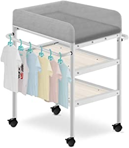 Changing Table Large Baby  Diaper Station with Universal Wheel  Towel Rail  Soft Pad  3-layer Storage Space  85x50x93cm