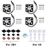 GeeekPi Raspberry Pi Tranquilo Ventilador 30x30x7mm DC 5V / 3.3V con Raspberry Pi Disipador para Raspberry Pi 3/2 Modelo B, Raspberry Pi 4B,3B + y Retroflag NESPI Case Plus (4-Pack)