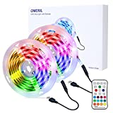 OMERIL Tira LED RGB 6M Impermeable, Tiras LED USB con Control Remoto, 4 Modos de Brillo y 16 Colores, Tira LED Regulable para...