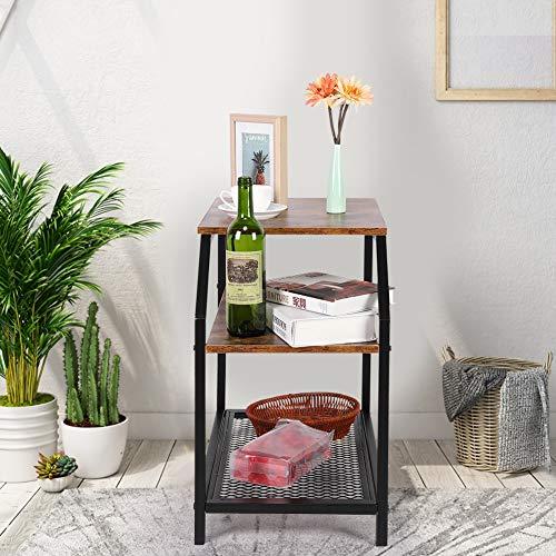 GOTOTOP - Mesa de noche industrial vintage industrial, mesa de sofá con portaobjetos, mesita de noche con estantes para salón, 36 x 60 x 60 cm