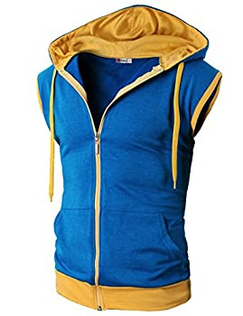 H2h Men s Active Fashion Sleeveless Hoodie Zip-up Vest BLUE US M  Asia L   JNSK31
