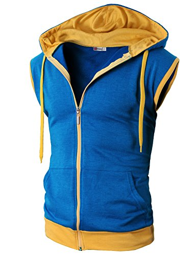 H2H Mens Fashionable Active Sleeveless Hoodie Zip-up Vest Blue US XL/Asia XXL (JNSK31)