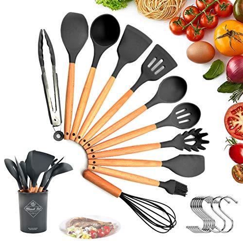 Utensilios Cocina de Silicona, 22 Piezas Herramienta de Cocción Antiadherente Resistente al Calor con Mangos de Madera, Juego de utensilios de cocina de silicona