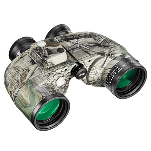 BNISE HD Binoculars - Navigation Compass and Rangefinder - 10x50 Large Object Lens BAK4 Large View - Waterproof and Fogproof - with Harness Strap and Neck Stap