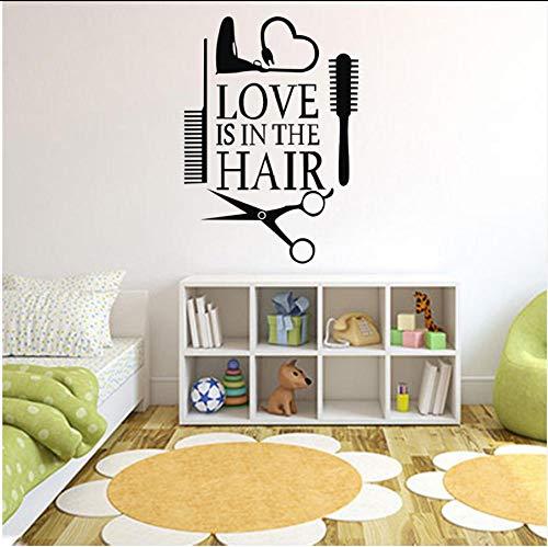 Wangchengp Muursticker 2019 Liefde Haarstylist Sticker Decal Dryer Schaar Salon Teken Venster Motorfietsen Vrachtwagen Bumper Deur Vinyl Decal Haardroger O27
