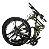 Eurobike G4 Mountain Bike 21 Speed Steel Frame 26 Inches Wheels Dual Suspension Folding Bike Army Green