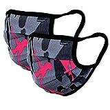 2er-Pack Mundschutz Maske Kinder Junge & Mädchen waschbar, camouflage | aus 100% Baumwolle Oeko-TEX 100 Standard Earloop-Design | wiederverwendbare Behelfs-Mundschutz Maske für Mund Nase | Ab 6