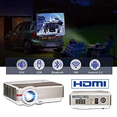 HD Android 6.0 Blutooth Video Projector,4200 Lumen LED LCD Smart Wireless Projector Outdoor Movies Home Theatre, Support HD 1080P Airplay WiFi Apps, USB/HDMI/3.5mm Jacket/VGA 10W Speaker