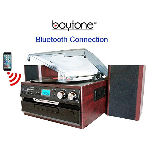 Boytone BT-24DJM Bluetooth Classic Style Record Player Turntable with AM/FM, CD/Cassette Player, Separate Stereo Speakers, Record from Vinyl, Radio, Cassette to USB with MP3 format, SD Slot, USB, AUX.
