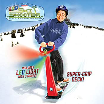 Geospace Original LED Ski Skooter  Fold-up Snowboard Kick-Scooter for Use on Snow Assorted Colors  Red Green or Blue