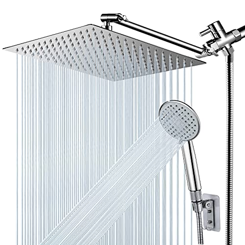 """Shower Head, NERDON 12'' High Pressure Rainfall Shower Head Handheld Combo 5 Settings with 15'' Brass Height/Angle Adjustable Extension Arm 60"""" Hose, Stainless Steel Bath Rain Showerhead with 4 Hooks"""
