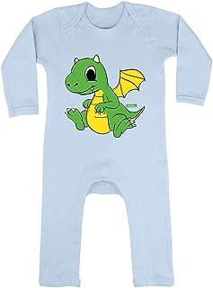 HARIZ HARIZ Baby Strampler Kleiner Drache Süß Tiere Dschungel Inkl. Geschenk Karte Himmel Hell Blau 3-6 Monate