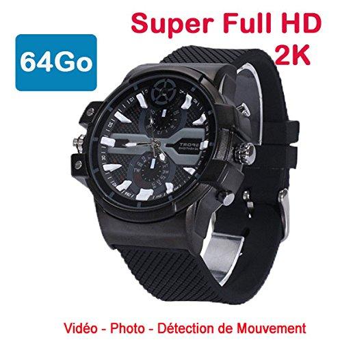 Cyber Express Electronics–Uhr mit Mini-Kamera, Spion 64GB 2K Super Full HD 2304x 1296P Bewegungserkennung CEL-DWF-74–64