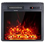 Amerlife 18' Electric Fireplace Insert, Freestanding Embedded Remote Fireplace Heater with Remote Control - Adjustable Log Flame,1400W