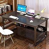 Escritorio de madera para ordenador portátil, mesa de estudio, estación de trabajo, muebles de oficina, muebles modernos de estudio con marco de acero y estantería C 140 cm - 140 cm - 140 cm