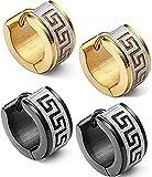KARAY Stainless Steel Hoop Earrings for Men Women Earrings Unique Greek Key (Gold&Balck)