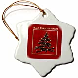 3dRose ORN_37022_1 Kala Christouyenna, Merry Christmas in Greek, Christmas Tree on Red Snowflake Porcelain Ornament, 3-Inch