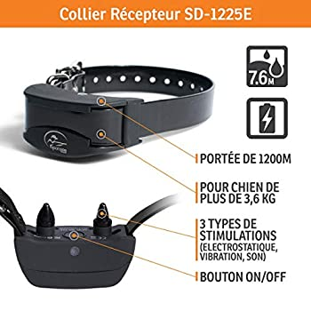 SportDOG - Collier de Dressage pour Chien avec Télécommande SportTrainer, Submersible, 8 Niveaux de Stimulation Electrostatique, Vibration et Signal Sonore - Portée 1200 m