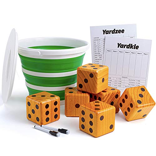 Crobyi Yardzee&Farkle Giant Yard Dice with Collapsible Bucket, 3.5  Giant Wooden Lawn Dice Game for Kids, Adults and Family. Includes 6 Giant Dice, 2 Scoreboard,2 Marker Pens and Collapsible Bucket.