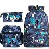 Travel TIK Tok Girls School Casual Daypacks Set Mochila Escolar para Estudiantes + Bolso pequeño + Bolso para bolígrafo Conjunto de Tres Piezas V-4