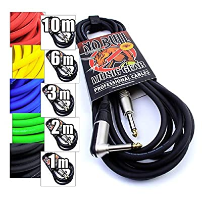 """Premium Guitar / Instrument Cable (Black, 20ft / 6m, Straight to Right Angle Plugs) - Achieve a Cleaner Signal via a Heavy Duty Pro 1/4"""" Jack to Jack Noiseless Mono Lead - Coloured Link Lead to Amplifier / Amp + Cable Tie"""