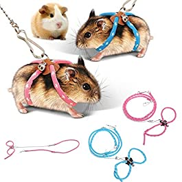 zhuangyulin6 1PC Hamster Harness Rope,Pet Hamster Harness,Lovely Adjustable Pet Rat Mouse Hamster Harness Rope Ferret Finder Lead Leash with Bell