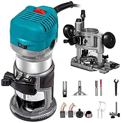 Mophorn 1.25HP Compact Router Kit Max Torque 30,000RPM Variable Speed Router with Fixed Base and Plunge Base For Woodworking and Furniture Manufacturing from Mophorn