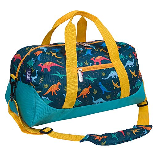 Wildkin Kids Overnighter Duffel Bag for Boys and Girls, Carry-On Size and Perfect for After-School Practice or Weekend Overnight Travel, Measures 18x9x9 Inches, BPA-free,Olive Kids(Jurassic Dinosaurs)