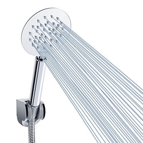 Wekine - Soffione doccia a pioggia con tubo flessibile da 7,6 cm, funziona alla grande anche con bassa pressione dell'acqua, soffioni in acciaio inox con staffa regolabile (rotonda)