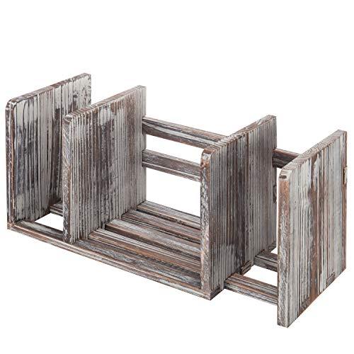 MyGift Torched legno adjustable-width desktop Bookshelf