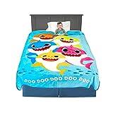 Franco Kids Bedding Super Soft Plush Micro Raschel Blanket, Twin/Full Size 62' x 90', Baby Shark