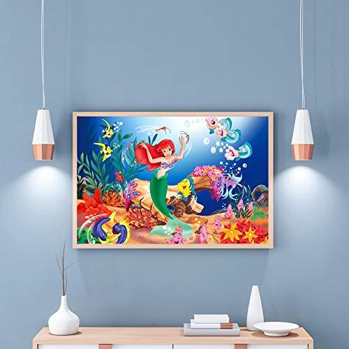 Preisvergleich Produktbild WSKPE DIY Digitale Malerei,  kreative Malerei auf Leinwand,  Moderne Wandbehang Kunst Little Mermaid Home Decoration Malerei,  40 * 50cm