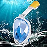 Glaceon Full Face Snorkel Mask, 180° Panoramic View Full mask, Easy Breathe, Anti-Fog, Anti Leak, Anti-Glare Snorkeling Gear, Go Pro Mount, Adult and Kids Snorkel Sets.