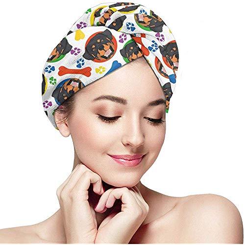 mahada Kleurrijke en Speelse Hond Rottweiler Huisdier Gezicht met Poten en Botten Haar Drogen Handdoek Wrap Turban Droog Haar Cap Douchekop Handdoeken