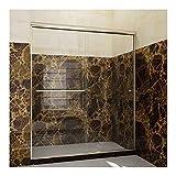 SUNNY SHOWER Frameless Glass Sliding Shower Door, 60' W x 72' H Shower Enclosure 1/4' Clear Glass Brushed Nickel Finish, 2 Way Sliding Glass Door