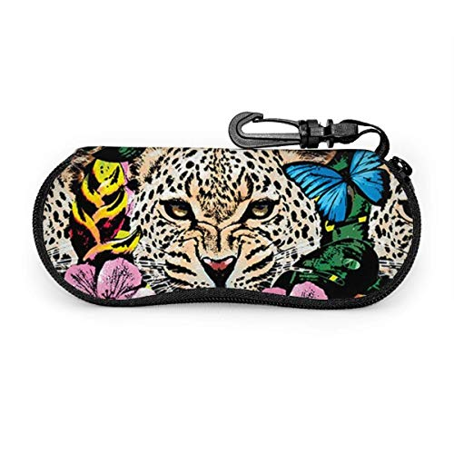 AOOEDM - Estuche para gafas de sol y anteojos - Soporte duradero para gafas con cremallera (estampado de guepardo con motivos florales de la selva)