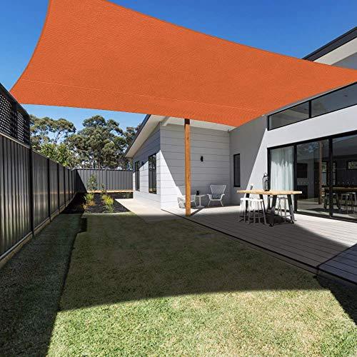 2 MX 3 m Naranja Parasol Vela Resistente al Agua Jardín al Aire Libre Patio Fiesta Protector Solar Toldo Toldo 98% Bloque UV con Cuerda Libre