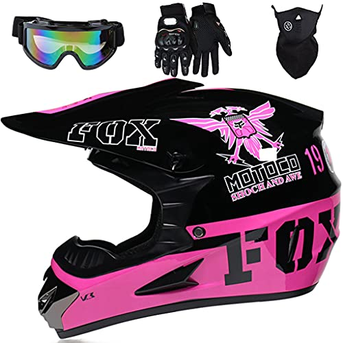 Aidasone Casco Motocross Niño, YEDIA-01 Casco de Cross con Diseño Fox, Casco MTB Integral con Gafas/Máscara/Guantes, para Moto Carreras ATV Quad Enduro Downhill Off Road, Negro Rosa,M