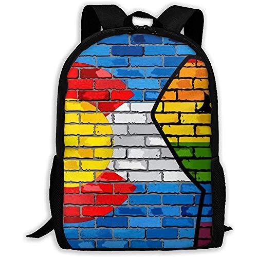 Rucksack LGBT Protest Faust auf einem Colorado Brick Wall Flag Bookbag Casual Reisetasche für Teen Boys Girls