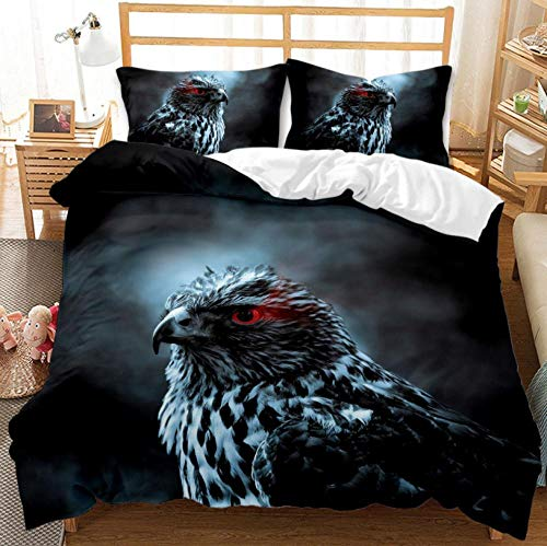 Duvet Cover Super King Bed 87x102 inch Black Animal Eagle Printed Microfibre 3D Duvet Cover with Zipper 1x Duvet Cover Set and 2 Pillow Cases, 3 Piece Bedding Set