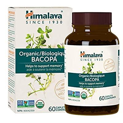 Himalaya Organic Bacopa Monnieri / Brahmi, Nootropic Brain Supplement Booster for Mental Sharpness, Focus, Memory, and Cognitive Wellness, 750 mg, 60 Caplets, 2 Month Supply