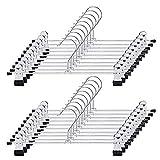 Supmaker Metall Hosenbügel Kleiderbügel mit Magic Kleiderbügel, delstahl Platzsparend Hosenbügel Kleiderbügel,Anti-Rutsch Kleiderbügel für Hosen Socken Röcke (20 Stück)