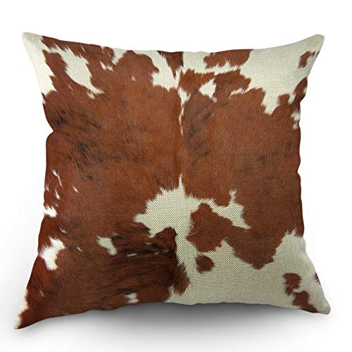 Moslion Cowhide Pillows Decorative Throw Pillow Cover Case Farm Animal Brown Cowhide Print Cow Pillow Case 18x18 Inch Cotton Linen Square Cushion Cover for Sofa Bedroom