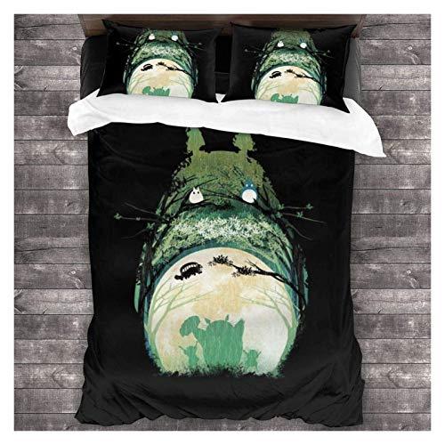 Fundas de edredón y conjuntos de cama My Vecino Totoro Bosque Espíritu Y Soómoballs Set De Cama De 3 Piezas Conjunto De Camas Decorativas Funda De Edredón De 3 Piezas Conjunto De Ropa De Cama Con 2 Al