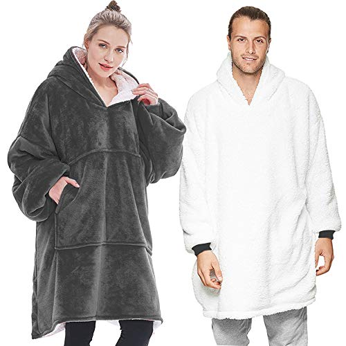 Lushforest Hoodie Sweatshirt Blanket,Oversized Super Soft Warm Comfortable Giant Hoody,Fit for Adults Men Women Teens (Grey)